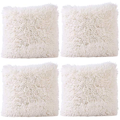 JOTOM Soft Solid Color Cushion Covers Waist Pillow Throw Case Square Pillow Cover for Car Seat Home Sofa Decor 43x43cm,Set of 4(Plush|Beige)