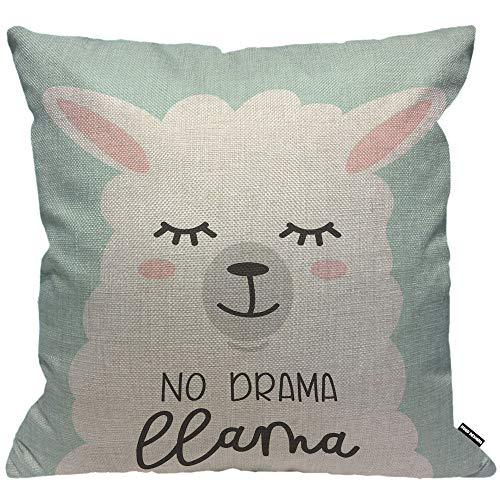 HGOD DESIGNS Cushion Cover No Drama Llama Cartoon Alpaca No Prob Llama Sleep Eyelash Throw Pillow Cover Home Decorative for Men/Women/Boys/Girls Living Room Bedroom Sofa Chair 18X18 Inch Pillowcase