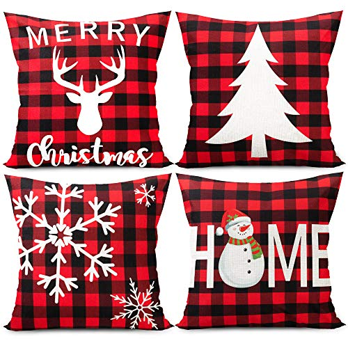 Funnlot Christmas Cushion Covers Red Christmas Pillow Covers Christmas Cushion Covers Set of 4 Red Christmas Cushion Covers 18x18 Plaid Cushion Covers Christmas Pillow Cushions Xmas Sofa Bed Decor