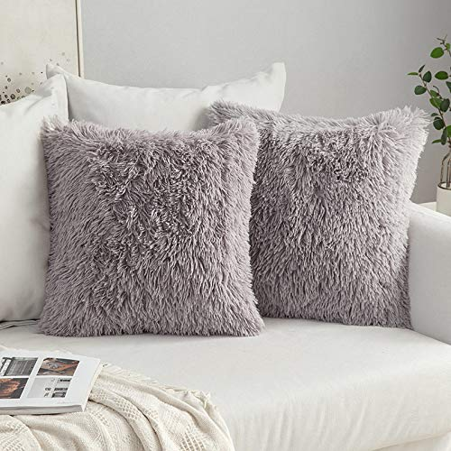 MIULEE Pack of 2 Faux Fur Throw Pillow Cover Fluffy Soft Decorative Square Pillow covers Plush Case Faux Fur Cushion Covers for Livingroom Sofa Bedroom 16'x16' Grey