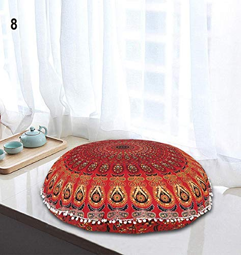 InicioDecorBoutique Indian Large Hippie Mandala Floor Pillow Cover - Cushion Cover - Pouf Cover Round Bohemian Yoga Decor Floor Zipped Throw Cushion Case- 32' Multi colors