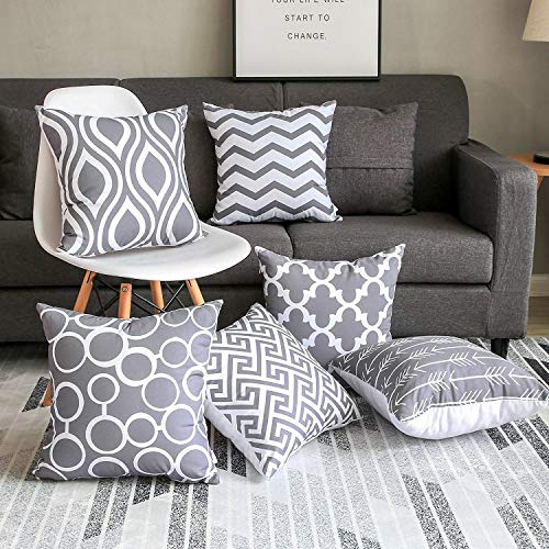 Modern Homes 100% Cotton Grey Cushion Covers/Decorative Throw Pillow Covers 16 x 16 inch (Gray, Set of 6)