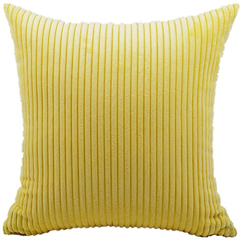 FEILEAH Striped Corduroy Soft Decorative Square Throw Pillow Cover Cushion Covers Pillowcase Home Decor for Sofa Chair Couch/Bedroom Decorative Pillowcases 1 Piece Yellow 28x28inch/70X70CM