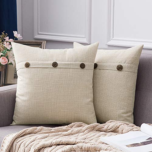 MIULEE Faux Linen Cushion Cover Button Cross Shape Square Throw Pillow Case Home for Sofa Chair Couch Bedroom Decorative Pillowcase Pack of 2 Cream 24 x 24 inch 60cm x 60cm