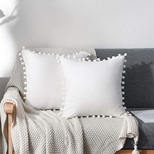 CAWANFLY 2 Packs Cute Pompom Cushion Covers 18x18 Inch Soft Square Decorative Throw Pillowcases for Livingroom Home Sofa Couch Bed Decor