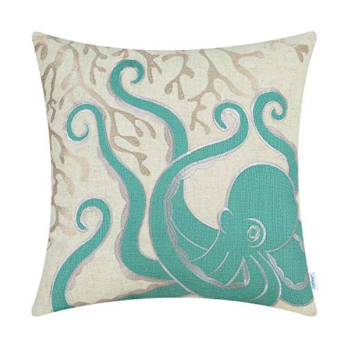 CaliTime Cushion Covers High Class Throw Pillow Cover Case for Couch Sofa Home Decoration Sea Octopus Coral Applique Embroidered 45cm x 45cm Teal