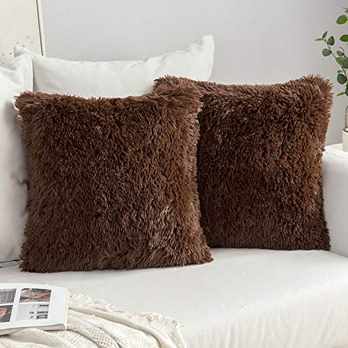 MIULEE Pack of 2 Faux Fur Throw Pillow Cover Fluffy Soft Decorative Square Pillow covers Plush Case Faux Fur Cushion Covers For Livingroom Sofa Bedroom 20 x 20 Inch 50x50cm Chocolate