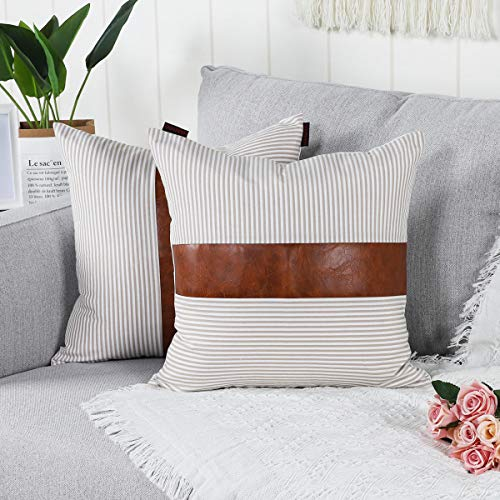 Mandioo Khaki Farmhouse Decorative Cushion Covers 18x18 Inches Boho Accent Throw Pillowcases for Couch Sofa Bedroom Faux Leather Cotton Linen Stripe 45cmx45cm,Pack of 2