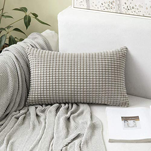 MIULEE Corduroy Big Corn Square Throw Pillow Case Cushion Cover Home for Sofa Chair Couch/Bedroom Decorative Pillowcase 12x20 Inch 30x50cm Light Grey