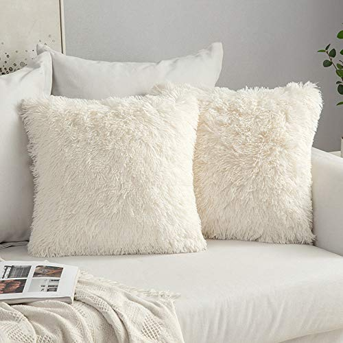 MIULEE Pack of 2 Faux Fur Throw Pillow Cover Fluffy Soft Decorative Square Pillow covers Plush Case Faux Fur Cushion Covers For Livingroom Sofa Bedroom 20 x 20 Inch 50 x 50 cm Cream white