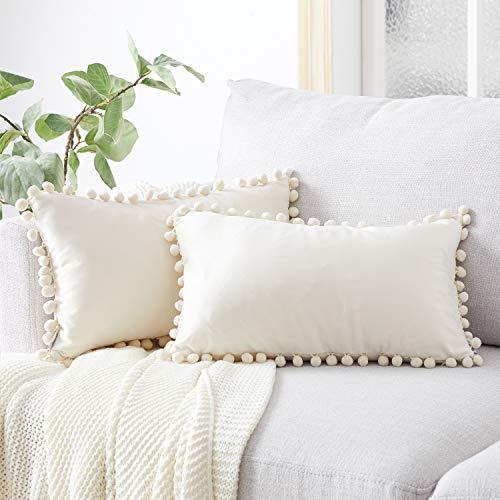Topfinel Cream Oblong Cushion Covers 12x20 Inch Velvet Soft Decorative Throw Pillowcase for Office Sofa Bedroom 30cmx50cm,Pack of 2