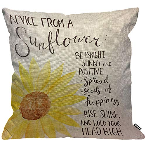 HGOD DESIGNS Cushion Cover Advice From A Sunflower Quotes Print,Throw Pillow Case Home Decorative for Men/Women Living Room Bedroom Sofa Chair 18X18 Inch Pillowcase 45X45cm