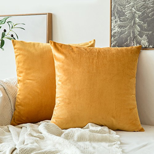 MIULEE Pack of 2 Velvet Soft Decorative Square Throw Pillow Case Cushion Covers Luxury Pillowcases for Livingroom Sofa Bedroom with Invisible Zipper 40cm x 40cm 16x16 Inches Gold