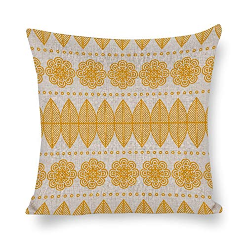 Promini Yellow Flower Graphic Pattern - Throw Pillow Covers Handmade Comfortable Cotton and Linen Pillowcases Soft Cushion House Decor For Car Home Sofa Living Room Bedroom 12' x 12'