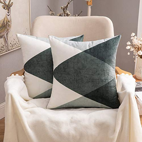 MIULEE Pack of 2 Geometric Suedette Cushion Covers Decorative Square Throw Pillow Case Luxury Pillowcases for Couch Livingroom Sofa Bed with Invisible Zipper 45 cm x 45 cm 18 x18 Inch Grey Green