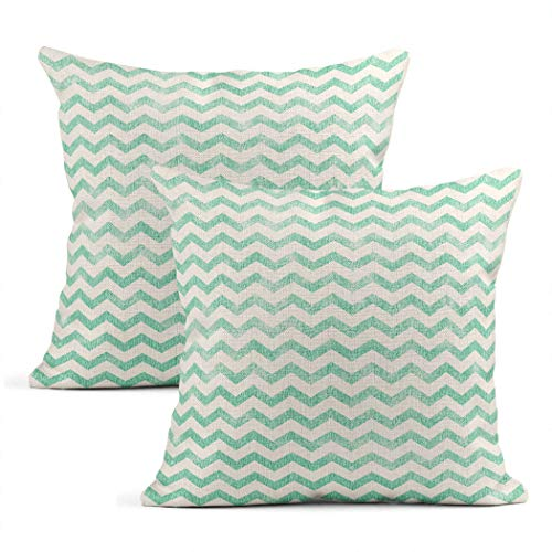 Heyqqo Set of 2 Cushion Covers Linen Zigzag Mint Green And White Pastel Fine Interesting Pop Art Pillowcases Square Soft Home Decor Design Throw Pillow Cases Sofa Bedroom 16x16 Inch