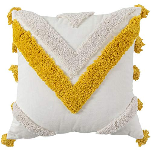 Tuneway Throw Pillow Covers Boho Modern Tribal Decoration Blue Tufted Fringe Tassel Couch Cushion Case for Bedroom Living Room Sofa Car-Square Yellow