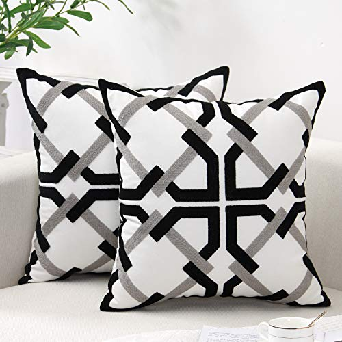 SUNBEAUTY Cushion Covers 18x18 Black White Geometric Cushion Cover 45x45 Modern Pillow Cases Decorative Pack of 2 Pillowcase Cotton Canvas Embroidery for Sofa Couch Bed Living Room Decorations