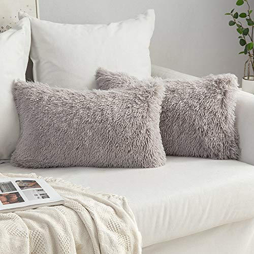 MIULEE Pack of 2 Faux Fur Throw Pillow Cover Fluffy Soft Decorative Square Pillow covers Plush Case Faux Fur Cushion Covers For Livingroom Sofa Bedroom 12 x 20 Inch 30 x 50 cm Grey