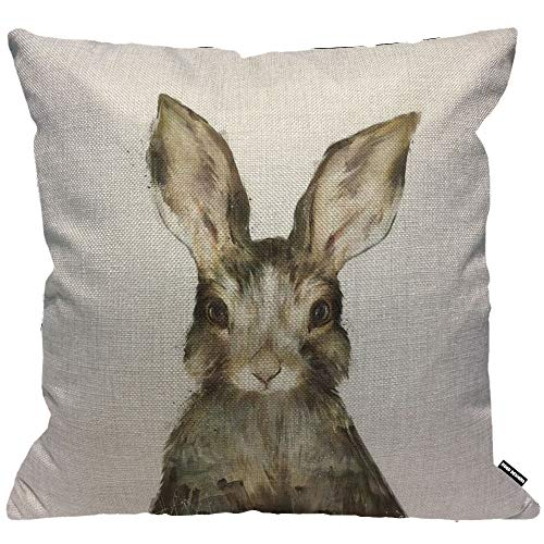 HGOD DESIGNS Cushion Cover Watercolor Cute Rabbits Painting Throw Pillow Cover Home Decorative for Men/Women/Boys/Girls Living Room Bedroom Sofa Chair 18X18 Inch Pillowcase