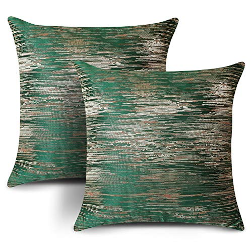 Artscope Set of 2 Cozy Jacquard Polyester Cushion Covers for Bed Couch Sofa Car Decor, Dark Green Luxury Modern Abstract Striped Textured Square Pillowcase Throw Pillow Covers 45x45cm