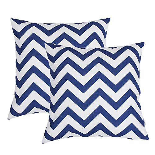 TIDWIACE® Navy Blue Cushion Cover Cotton and linen Decorative Square Throw Pillow Cases for Sofa Bedroom 18 x 18 Inch 45 x 45 cm,Set of 2 Wave