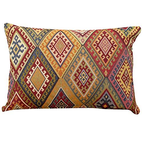 Linen Loft Traditional Kilim Style Boudoir Cushion Cover. 17x12 Rectangle. Classic Vintage Turkish Style Woven Geometric Tapestry Diamond Pattern.