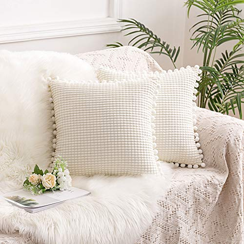 HAUSEIN Set of 2 Corduroy Soft Big Solid Corn Granule Decorative Throw Pillow Covers with Pom-poms, Soft Square Cushion Cases for Couch Sofa Bedroom (45x45 cm, White)