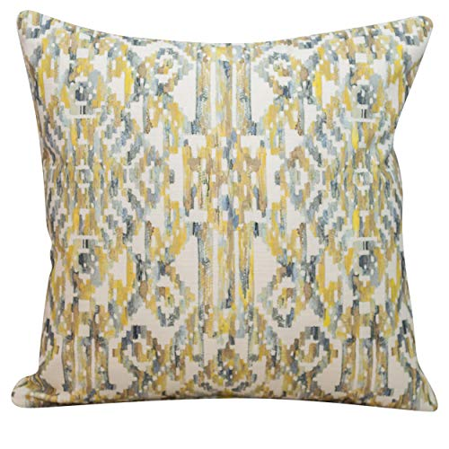 Linen Loft Moroccan Trellis Cushion in Ochre. Double Sided 100% Cotton. 17x17 Square. Aztec Style Ikat Geometric Pattern. (43cm x 43cm Cover only)