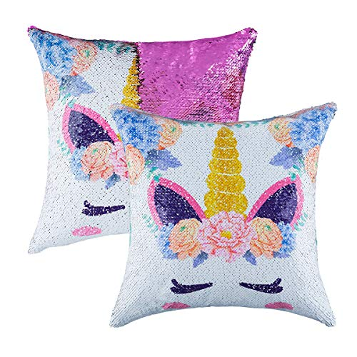 Mermaid Sequin Throw Pillow Case Reversible Sequin Glitter Pillow Cover with Zipper for Kids Decorative Cushion Cover for Couch Bed Sofa 16'x16',2 Pack