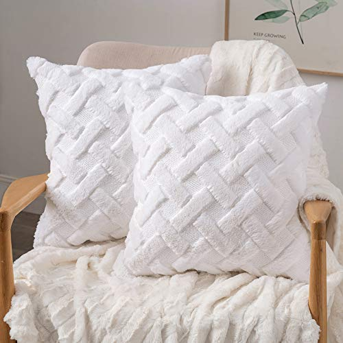 MIULEE Cushion Cover Wool Throw Pillow Case Decorative Elegant Soft With X Plush Home Decoration for Sofa Bed Living Room Protector 45 x 45cm 18 x 18 Inch White 2 Pieces