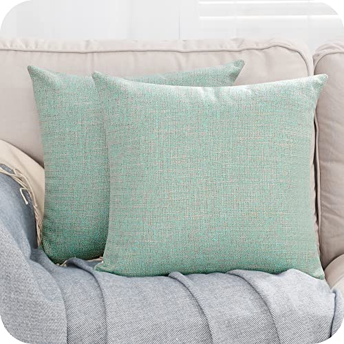 Amazon Brand - Umi Faux Linen Soft Decorative Square Throw Pillow Case Cushion Covers Pillowcases for Livingroom Sofa Bedroom with Invisible Zipper 40 x 40 CM 16 x 16 Inch Blue Set of 2