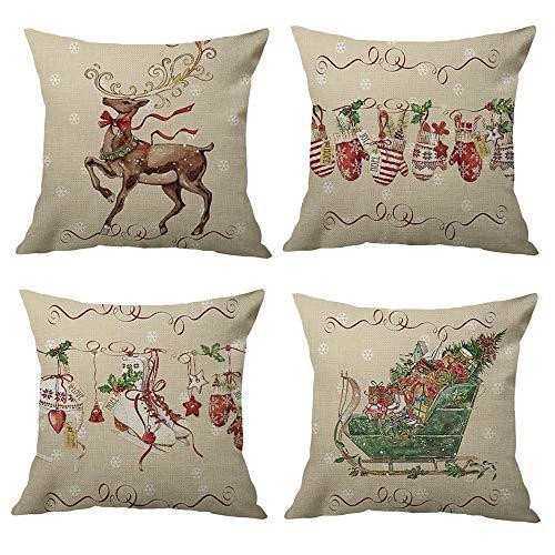 Hangood Cushion Covers Cover 18x18 Christmas Xmas Classic 45cm x 45cm Cotton Linen Throw Pillow Case Set of 4pcs