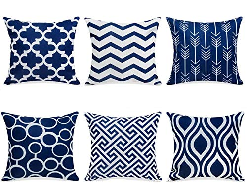 TIDWIACE Geometry Navy blue Cushion Cover Cotton and linen Home Decorative Set of 6 - Accent Throw Pillow Covers Case Pillowcases for Outdoor Couch Livingroom Sofa Bed with Invisible Zipper 45 x 45 cm
