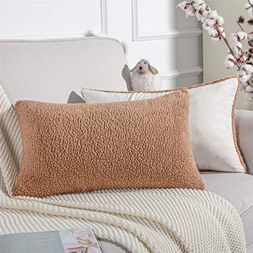 Topfinel Lambswool Cushion Covers Decorative Pillow Cover 30cm x 50cm Oblong Throw Pillowcases for Sofa Bedroom Couch 12x20 Inch Brown Sets of 2