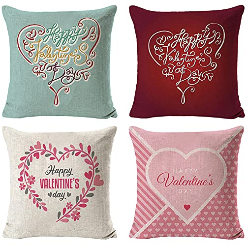 Throw Pillow Cover 35x35cm/14x14in Pink Love Cushion Decorative Pillow Cover Square Double-Sided Cushion Cover 4 Pack Linen Cushion Covers,for Garden Couch Pet Sofa Bedroom Home Decoration G62