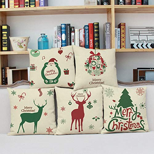 OFCASA Cushion Cover Set of 5 Christmas Cushion Cover 45 x 45 cm Cotton Linen Throw Pillow Case Xmas Decorative Pillow Cover Sofa Bed Chair Home Decor 5PCS