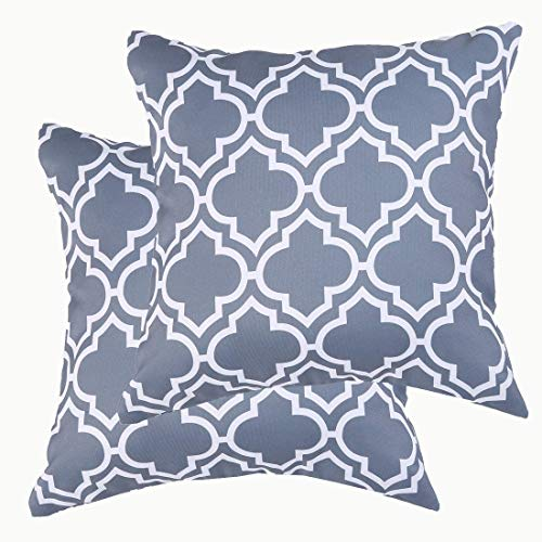 Eternal Beauty|Polyester Decorative Square 2 PCS Cushion Covers 16'x16',Whaterproof Outdoor Throw Pillow Case for Garden Furniture Sofa with Invisible Zipper,Grey (40cmx40cm)