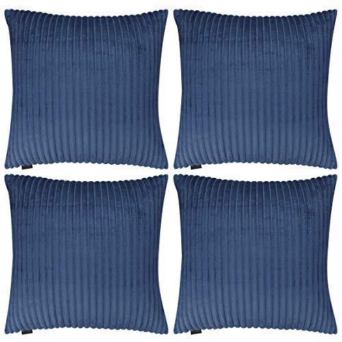 Hodeacc 4 Packs Velvet Flannel Striped Throw Pillow Covers,Super Soft Plush Cushion Covers Faux Fur Decorative Throw Pillowcase Home Decor Cushion Cover,18x18 inch/45x45 cm