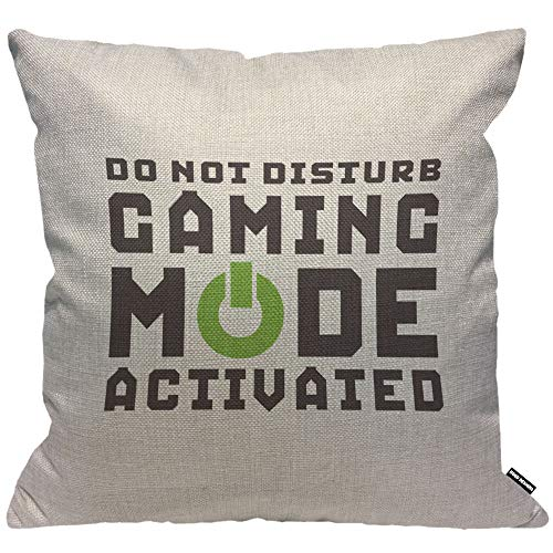 HGOD DESIGNS Cushion Cover Funny Game Quote Do Not Gaming Mode Activated,Throw Pillow Case Home Decorative for Men/Women Living Room Bedroom Sofa Chair 18X18 Inch Pillowcase 45X45cm