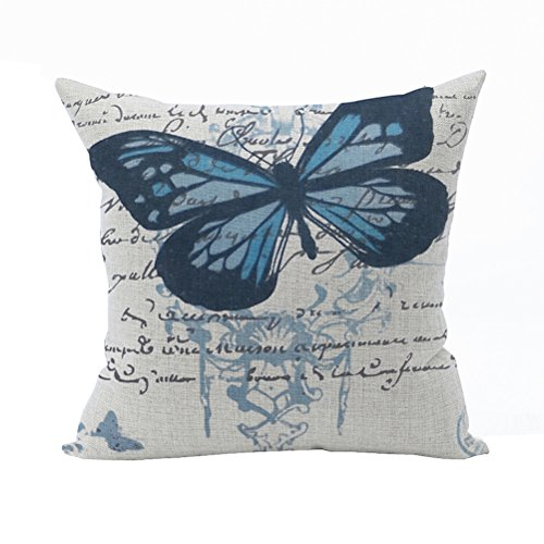 Nunubee Animal Home Pillowcase Cotton Linen Pillow Covers Decorative Bed Cushion Cover Blue Butterfly