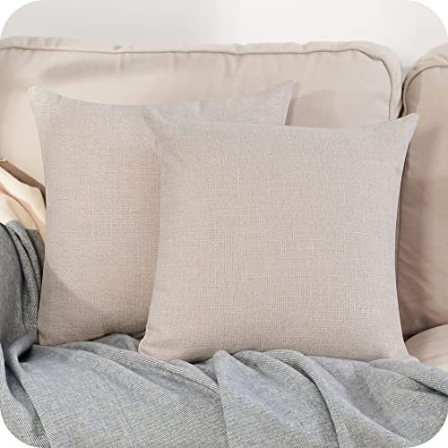 Amazon Brand - Umi Faux Linen Soild Decorative Square Pillow Case Throw Cushion Cover for Sofa Bedroom Car with Invisible Zipper 18x18 Inch 45 x 45 cm Beige Set of 2