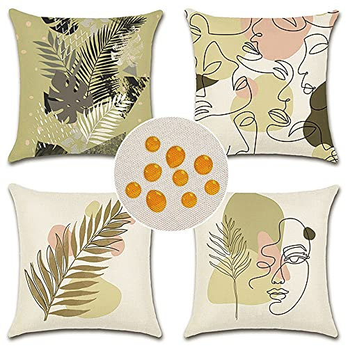 Artscope Set of 4 Decorative Cushion Covers 45x45cm, Abstract Human Face and Plant Pattern Waterproof Throw Pillow Covers, Perfect to Outdoor Patio Garden Bench Living Room Sofa Farmhouse Decor