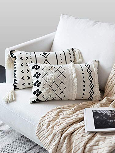 LOMOHOO Decorative Tufted Boho Throw Pillow Cover,Black and White Lumbar Pillowcase 12X20 Inch Rectangle Cotton Cushion Cover for Couch Sofa Bedroom Living Room