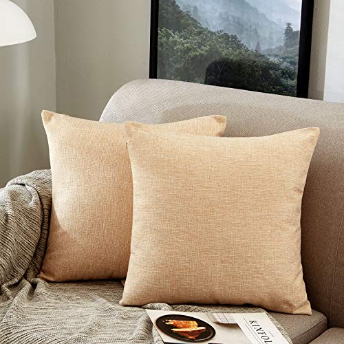 MERNETTE Pack of 2, Linen Decorative Square Throw Pillow Cover Cushion Covers Pillowcase, Home Decor Decorations For Sofa Couch Bed Chair 18x18 Inch/45x45 cm (Beige)