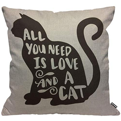 HGOD DESIGNS Black Cat Cushion Cover,All You Need is Love and A Cat Throw Pillow Case Home Decorative for Men/Women Living Room Bedroom Sofa Chair 18X18 Inch Pillowcase 45X45cm