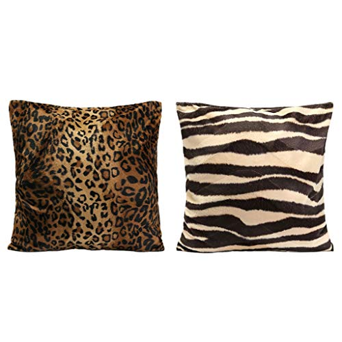 Baoblaze Pack 2 45x45cm Standard Animal Print Pillow Case Leopard Zebra Office Sofa Car Cushion Cover - A
