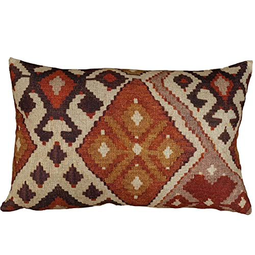 Terracotta Kilim Turkish Style Printed XL Rectangular Cushion Cover. Soft All-Natural Linen-Blend Cloth in Terracotta and Burnt Orange. 23x15' XL Rectangle Cover Only.