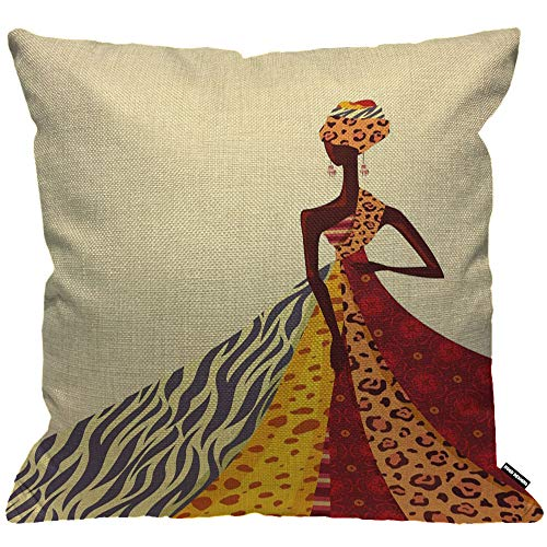 HGOD DESIGNS Cushion Cover African Girl Posing with Colorful Dress,Throw Pillow Case Home Decorative for Men/Women Living Room Bedroom Sofa Chair 18X18 Inch Pillowcase 45X45cm