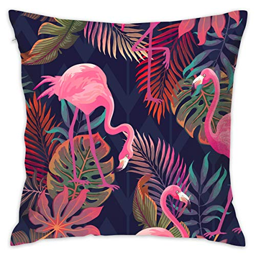 N\A Pink Flamingo and Palm Leaves Comfy Throw Pillow Cover Cushion for Bedroom